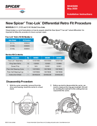 New Spicer® Trac-Lok™ Differential Retro Fit Procedure