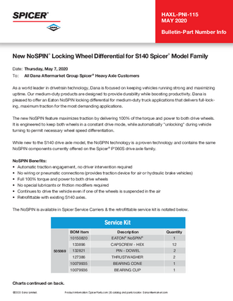 New NoSPIN® Locking Wheel Differential for S140 Spicer® Model Family