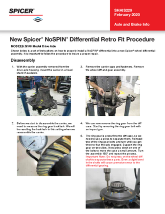 New Spicer® NoSPIN® Differential Retro Fit Procedure