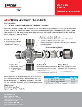 Spicer Life Series® Plus U-Joints
