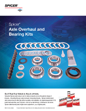 Spicer Axle Overhaul and Bearing Kits