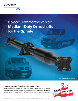 Spicer® Commercial Vehicle Medium-Duty Driveshafts for the Sprinter