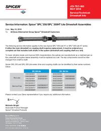 SPL® 250 / SPL® 350HT Lite Driveshaft Assemblies