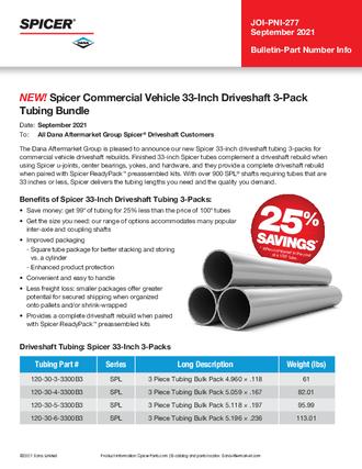 Spicer Commercial Vehicle 33-Inch Driveshaft 3-Pack Tubing Bundle