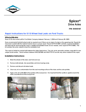 Repair Instructions for S110 Wheel Seal Leaks on Ford Trucks