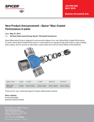 New Product Announcement – Spicer® Blue-Coated Performance U-joints