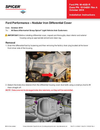 Installation Instructions - Ford Performance – Nodular Iron Differential Cover