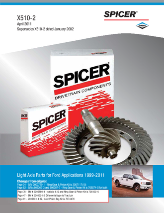 2011 Spicer Light Axle Parts For Ford Applications