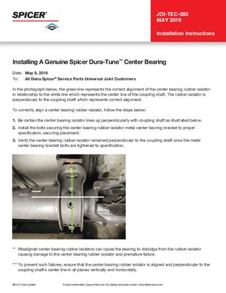 Installing A Genuine Spicer® Dura-Tune® Center Bearing