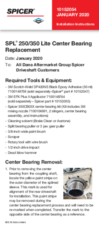 SPL® 250/350 Lite Center Bearing Replacement