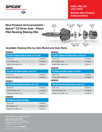 Spicer® CV Drive Axle - Pinion Pilot Bearing Staking Kits